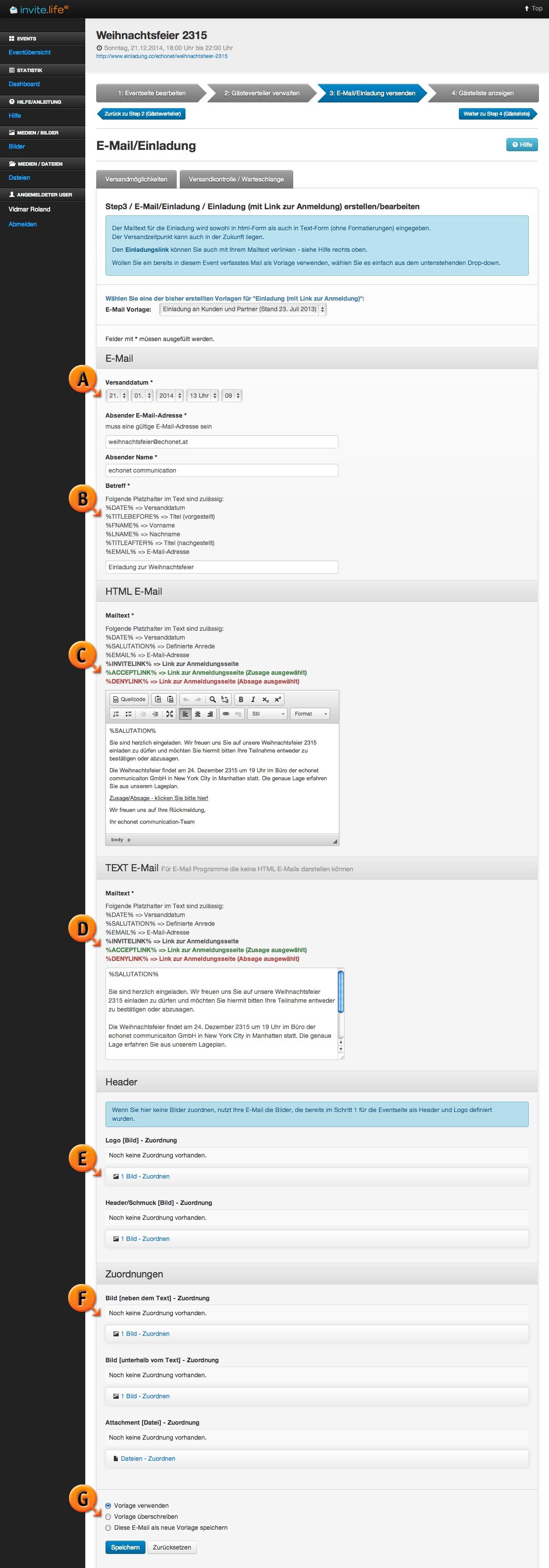 e-mail mit einladungslink versenden | schritt 3: e-mail, Einladung